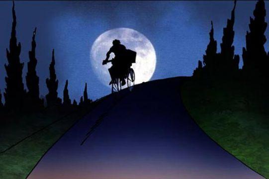 """مشهد الفتى على الدراجة كان يشبه لقطة من فيلم """"إي تي"""" (رسوم: فواز)"""